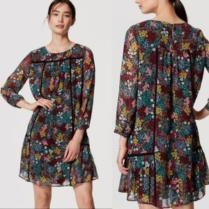 LOFT Wildflower Babydoll Dress Floral Tunic Small
